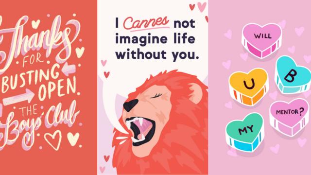 Three different Galentine's Day ecards