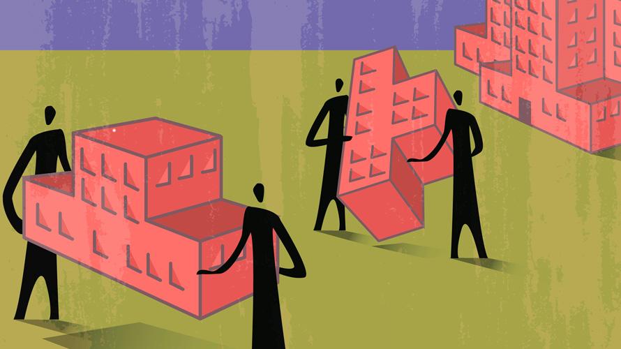 Illustration showing people moving blocks