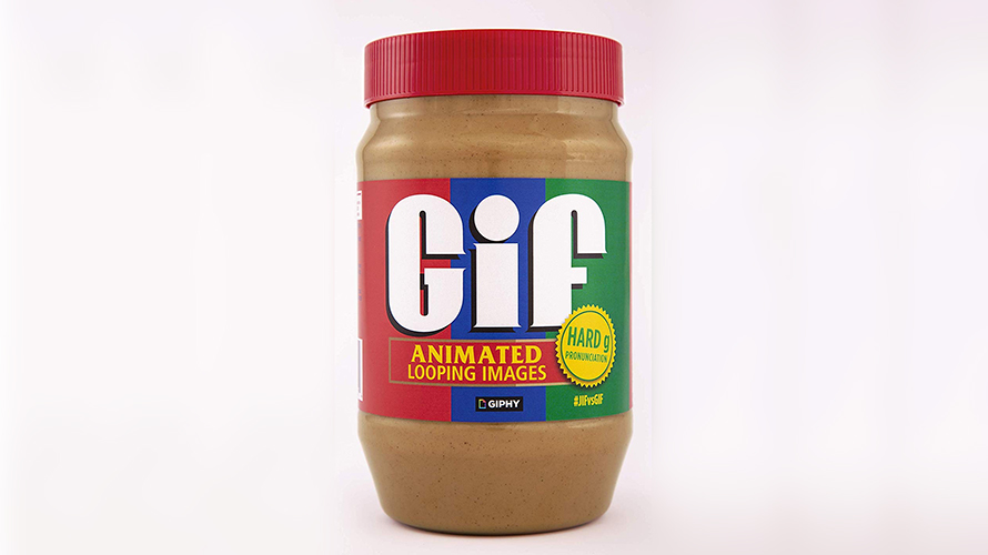A jar of Jif that says GIF on it