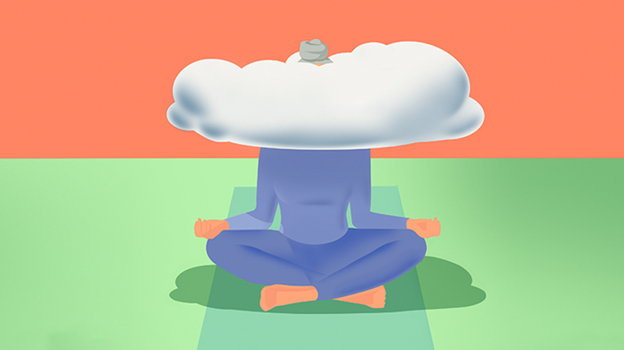 A person meditating with a cloud on their head