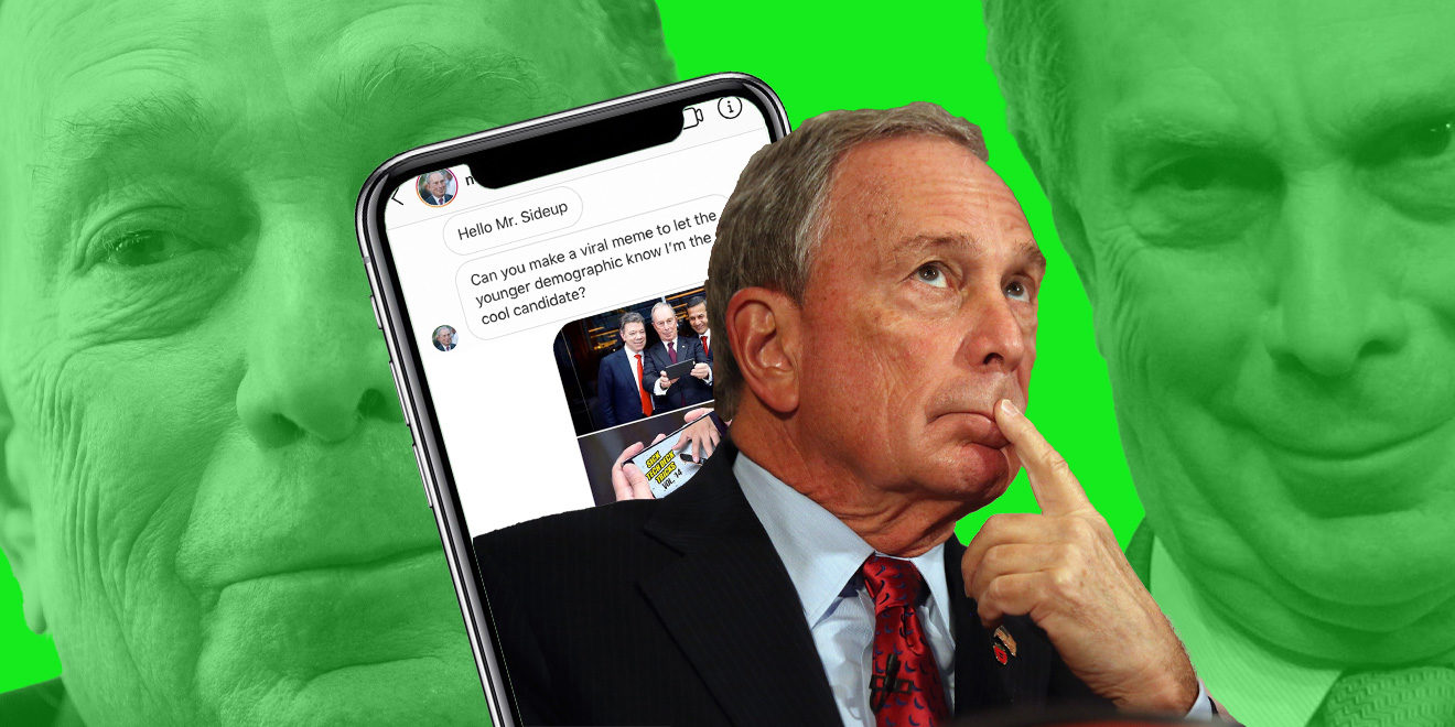 Two close-up photos of Michael Bloomberg with a green background behind a smartphone and another photo of Bloomberg with his finger on his lips in the middle