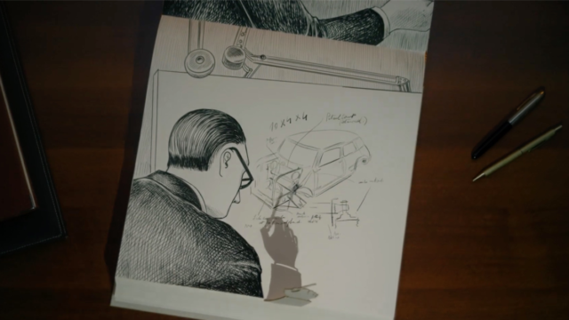 a drawing of a man at work