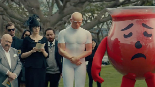 mr clean and sad kool-aid at a funeral
