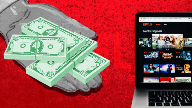 hand holding out money toward Netflix on a computer screen