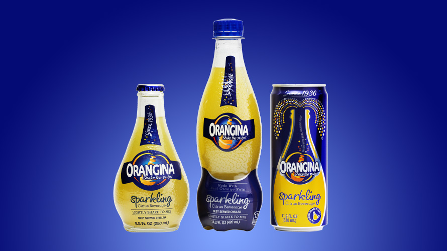 orangina bottles and cans