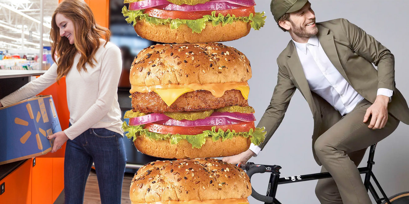 Woman picking up a Walmart box, stacked burgers, fashionable man riding a bike