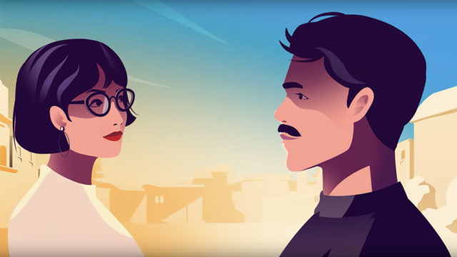An illustration of a woman with short hair and glasses looking at a man with a mustache