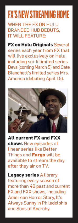 A sidebar with an image of Chris Rock that says FX's New Streaming Home