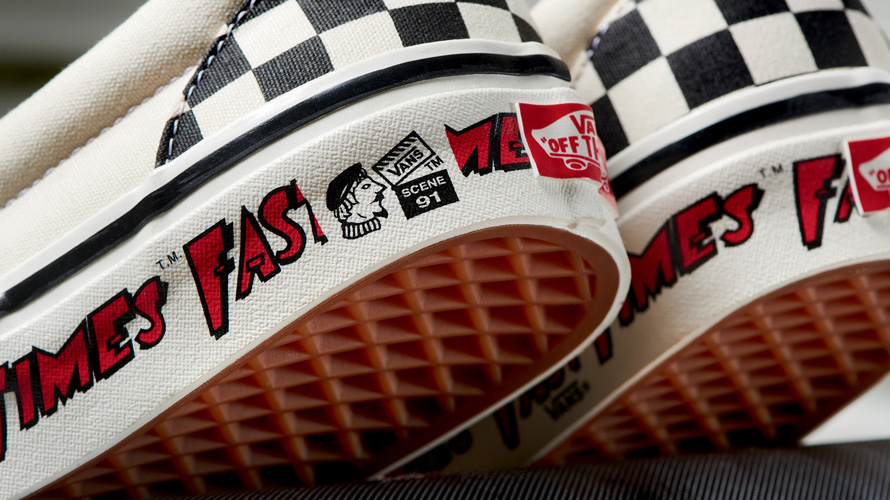 close up of back of checkerboard vans