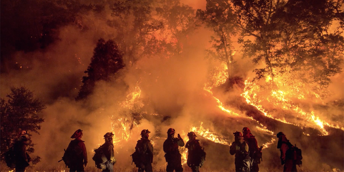firefighters fighting an inferno