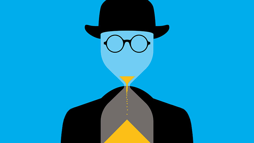 an invisible mean wearing glasses and a small bowler hat as sand runs through his face