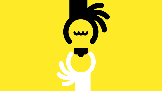 illustration of two hands, one black and one white, screwing in a lightbuld