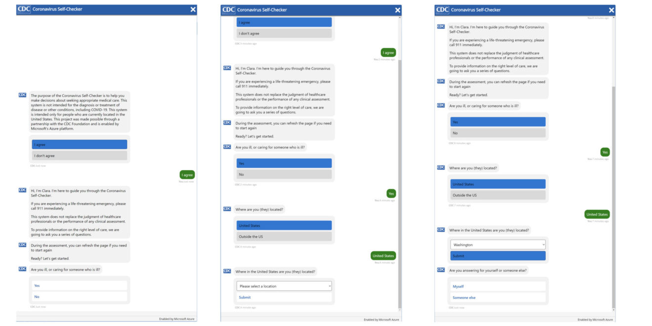 Screenshots of the Clara chatbot interacting with people