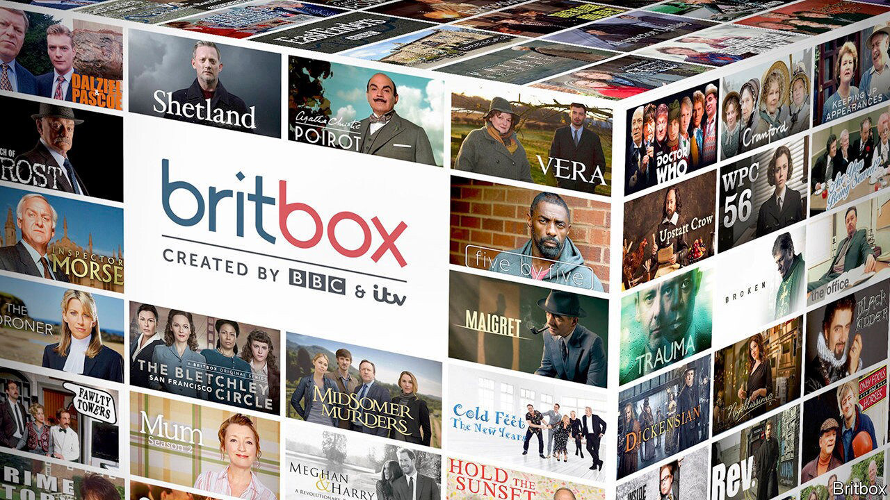 The BritBox logo with photos from all of its shows