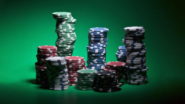 Stacks of various gambling chips