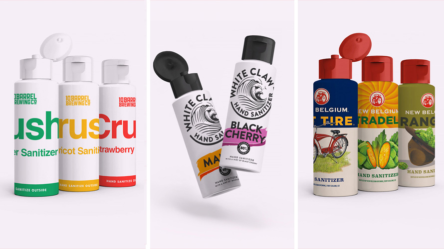 Images of different hand sanitizers from alcoholic beverage brands