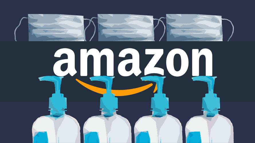 bottles of hand sanitizer with the amazon logo behind them