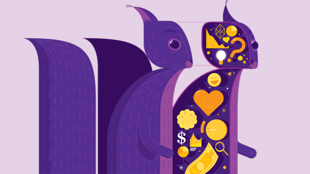 The purple squirrel is made up with magical attributes.