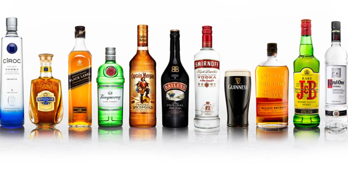 bottles of diageo-owned liquors