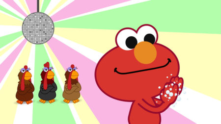 Elmo washing his hands