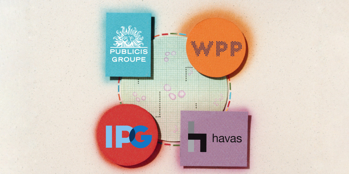A circle featuring logos from Publicis Groupe, WPP, Interpublic Group and Havas