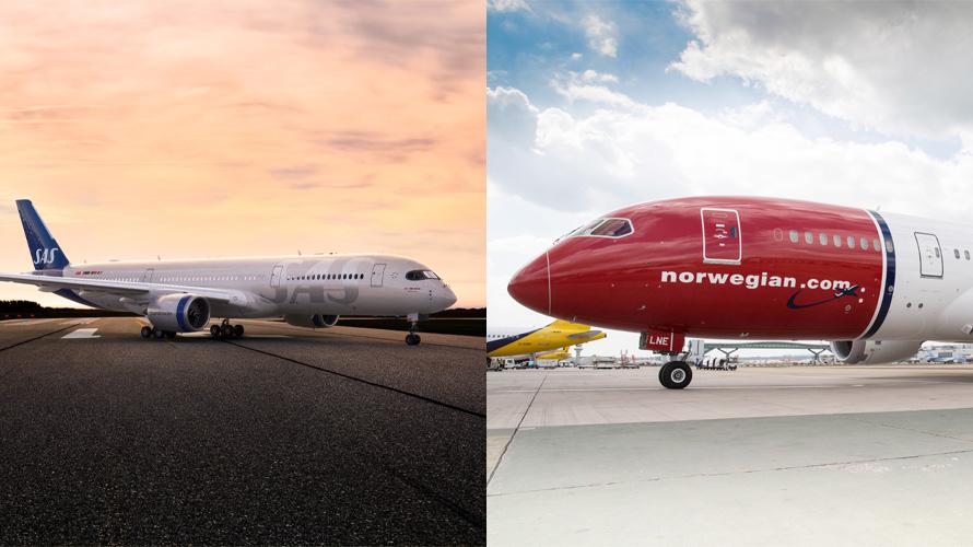scandinavian and Norwegian airlines planes
