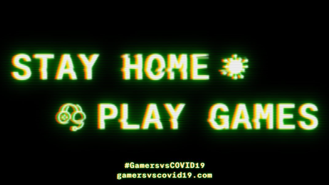 """the words """"stay home play games"""" on a video game-like screen"""