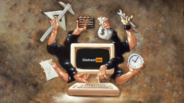 a computer with a bunch of hands coming out of it holding money bags, clocks, tools, paper