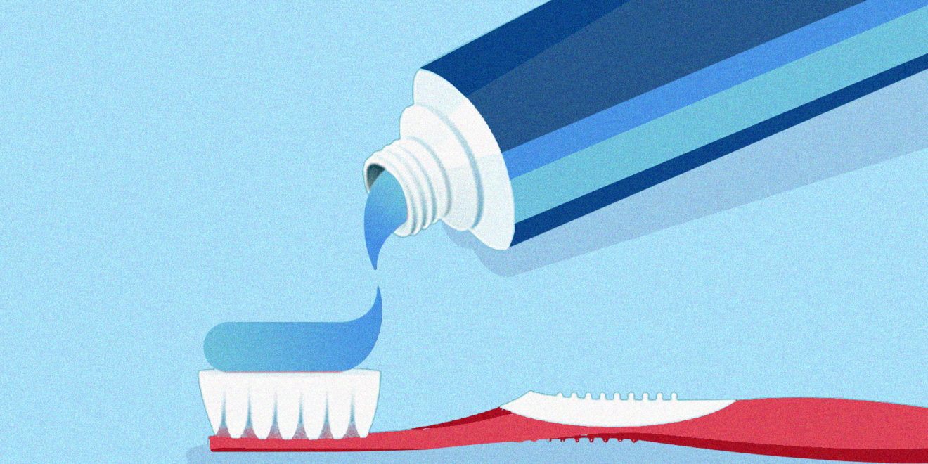 illustration of blue toothpaste on a red toothbrush