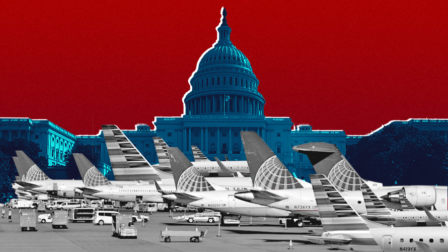 th e capitol with planes parked in front of it