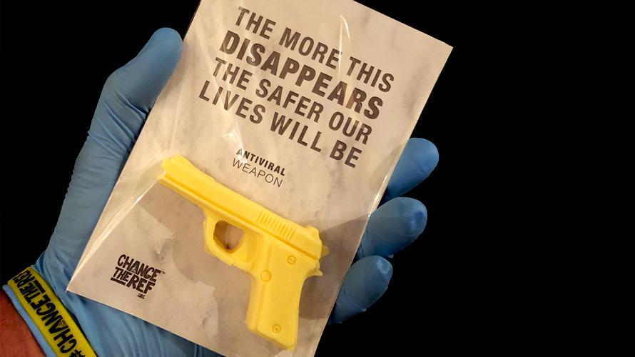a gun-shaped soap