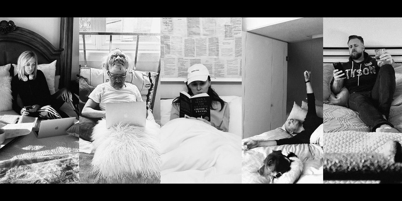 Photos of five people working in bed