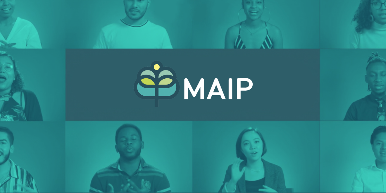 MAIP logo with photos of interns