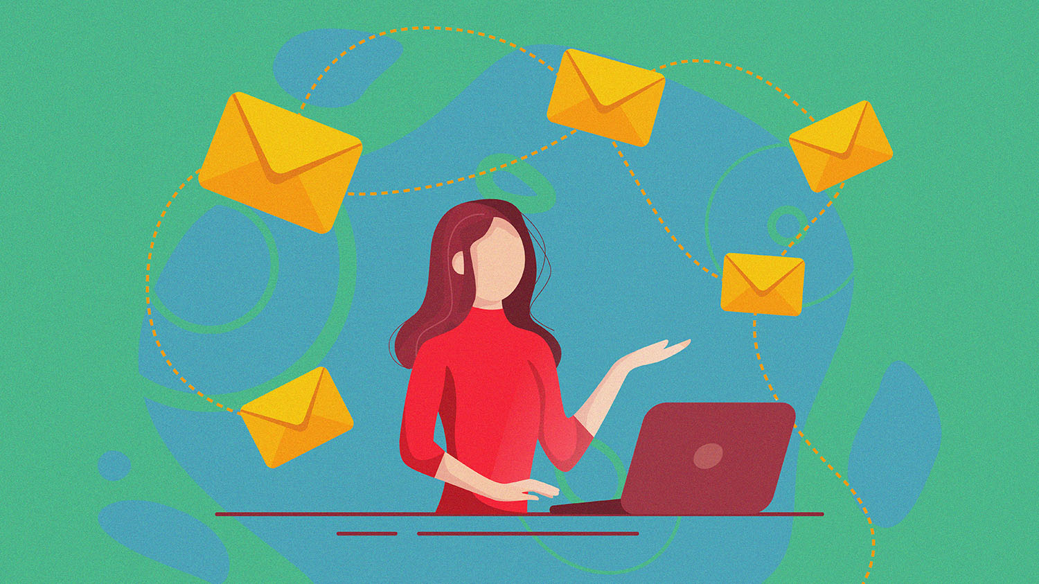 Illustration of a woman with envelopes and a laptop