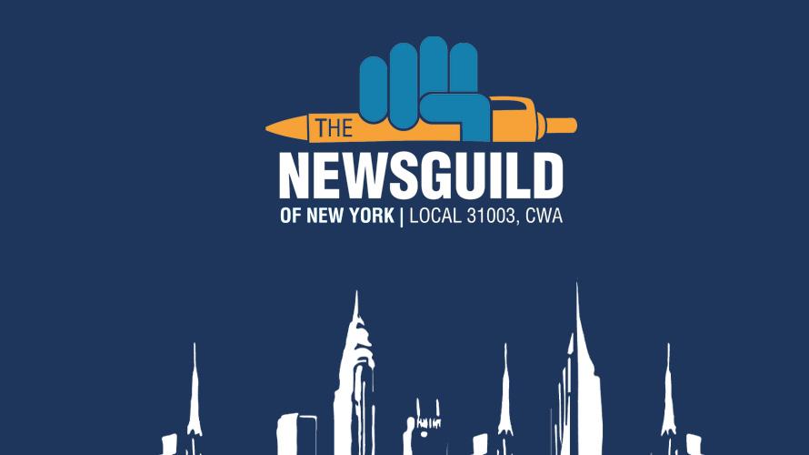 Blue hand holds an orange pen in NewsGuild of New York