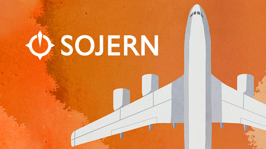 sojern logo with an airplane