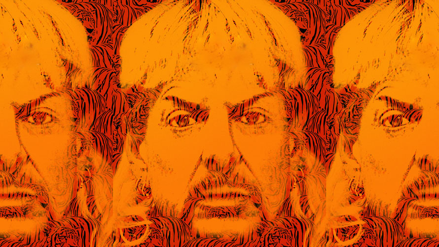 A photo of Joe Exotic duplicated three times with orange with a tiger background