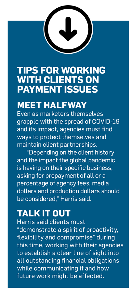 Sidebar with an arrow pointing down and a title that says, 'Tips for Working With Clients on Payment Issues'