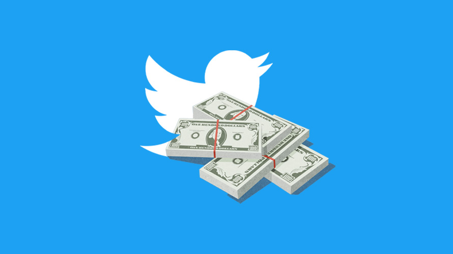 the twitter bird with a pile of money