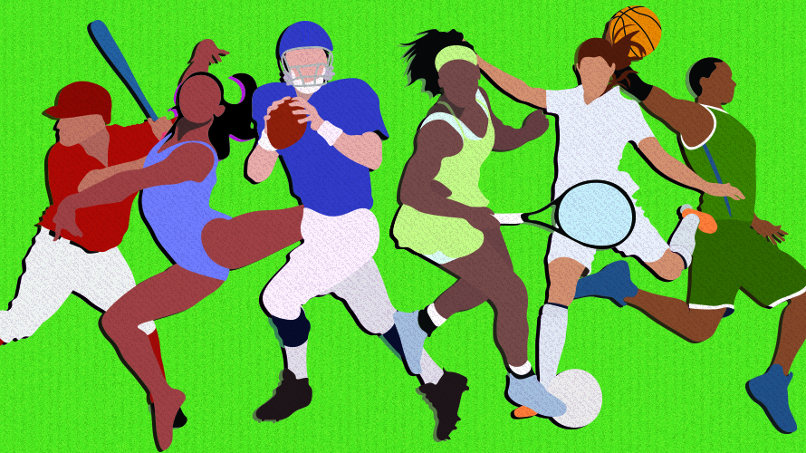 green background with a black woman doing gymnastics, a man throwing a football, a black woman playing tennis, and a woman kicking a soccer ball