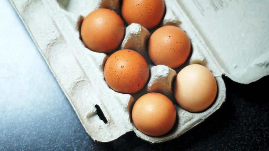 open carton of eggs