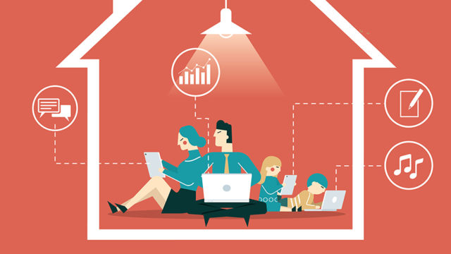 family at home with devices illustrated