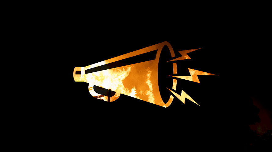 a gold bullhorn with lightning bolts coming out