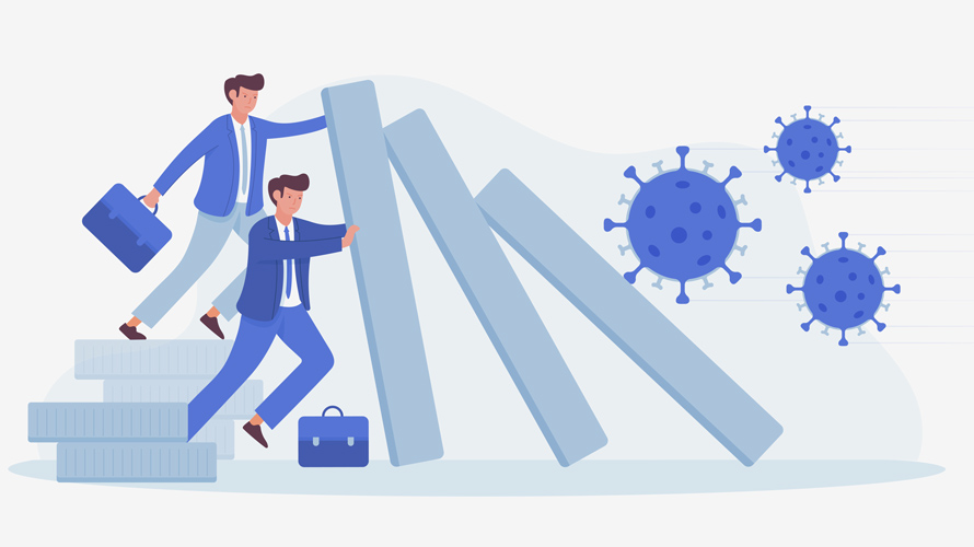 illustration of two men with briefcases holding up falling blocks