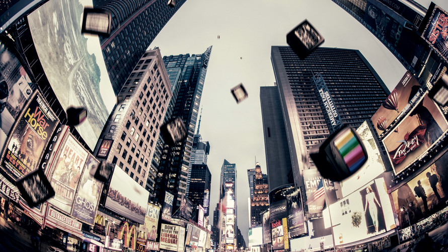 Photo of Times Square with falling TVs