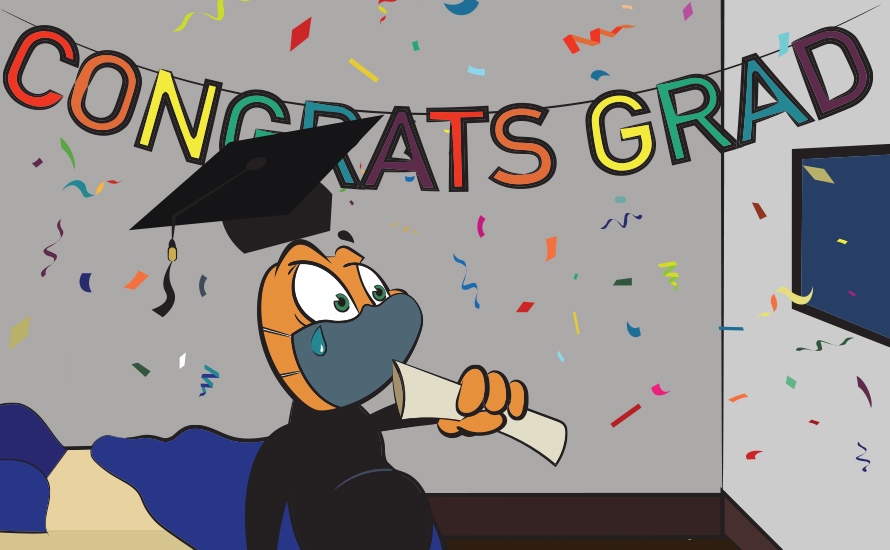 cartoon that says congrats grad with a person with a graduation cap on at a table