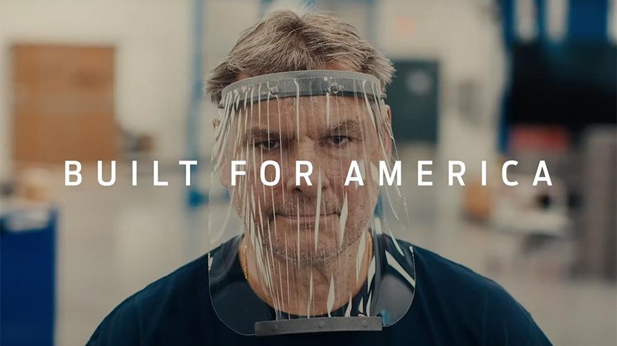 A man wearing a face shield