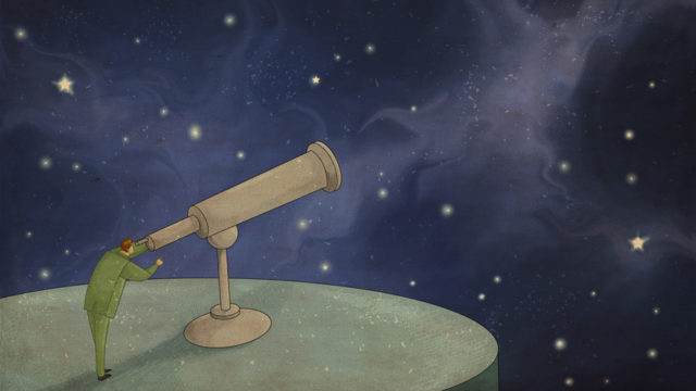 an illustration of a telescope poiting at
