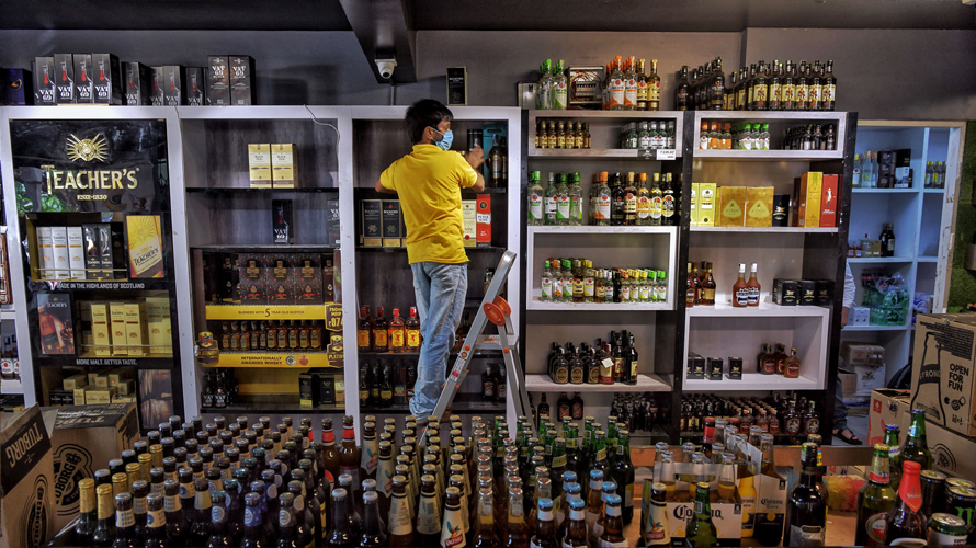 inside a liquor store