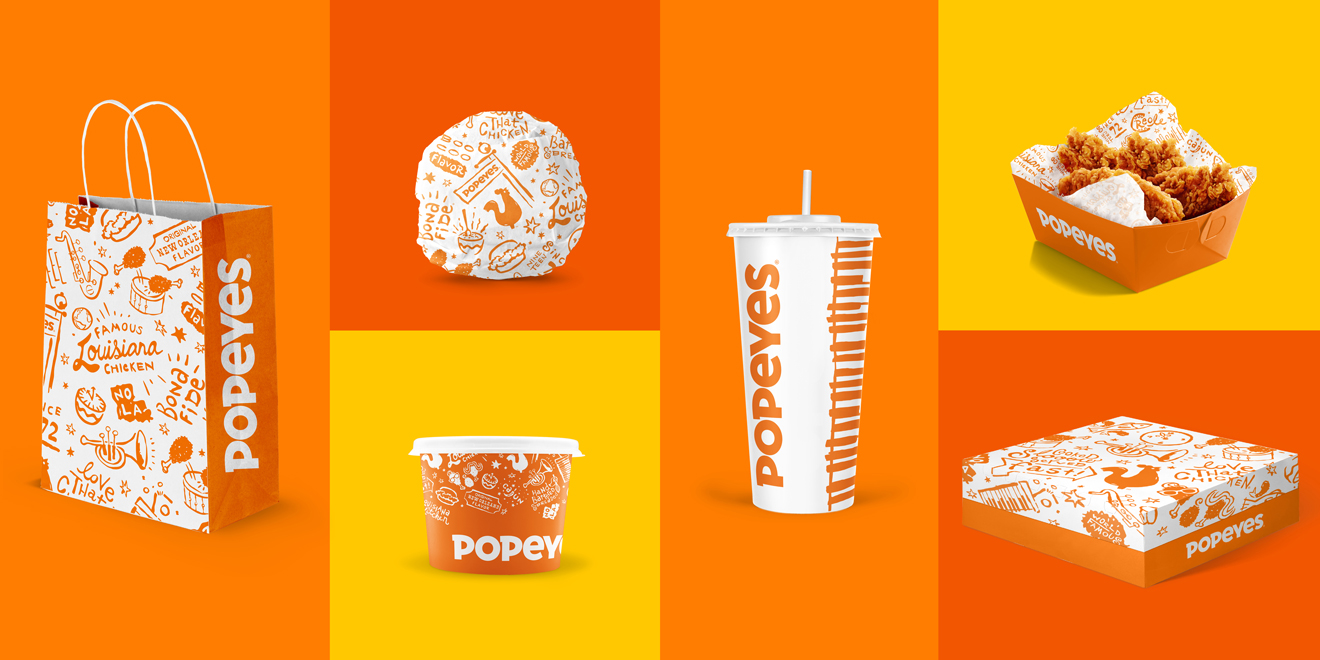 Collage of rebranded Popeyes products
